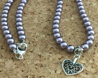 Heart Charm Swarovski Pearl Beaded Necklace, Heart Charm Necklace