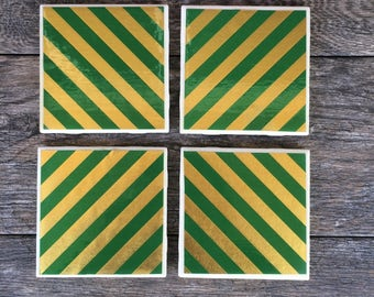 Green and Gold Striped Ceramic Coasters