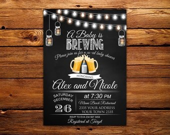 a baby is brewing | etsy, Baby shower invitations