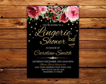 Lingerie Shower Invitation. Lingerie Invitation. Bridal Shower Invitation.  Lingerie Shower. Black Gold. Watercolor Floral Bridal Shower.