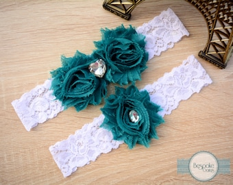 Wedding Garter, Teal Garter, Rhinestone Garter, White Lace Garter, Flower Garter, Wedding Garters, Wedding Garter Set, Lace Wedding Garter
