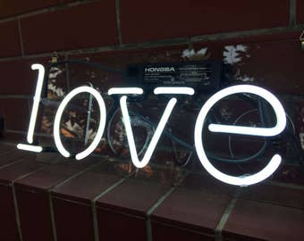 "Handmade 'Love' Wedding Art Light Banner Room Decor Neon Sign 13""x6"""