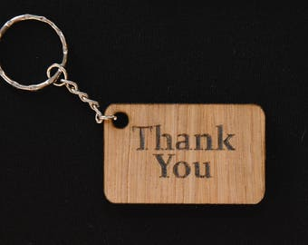 Thank you wooden keyring, wedding favour, gift, keepsake, quirky gift
