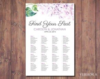 Printable Seating Chart, Wedding Seating Chart Poster, Seating Chart, Purple Wedding, Purple Seating Chart, Floral Seating Chart, Printable