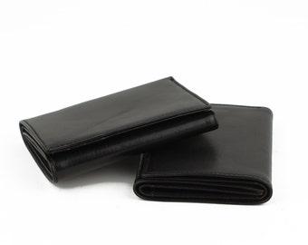NEW!! Genuine Leather Wallet- Handmade Wallet- Black Three-Fold