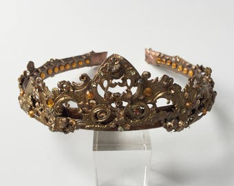Regal Topaz and Amber Austrian crystal golden tiara