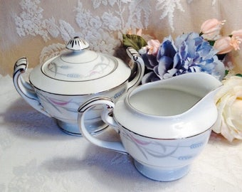 Elegant Beautiful Bone China By Valmont Royal Wheat Sugar Bowl And Creamer