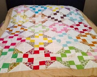 Vintage Triangle Square Mulitcolor Quilt