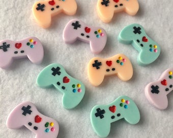 10 pc tiny game pad with heart Cabochons game controller cabochons game controller beads kawaii video game beads CA043