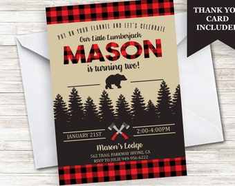 Lumberjack Invite Birthday Invitation 5x7 Digital Any Age Personalized Winter Flannel Mountains