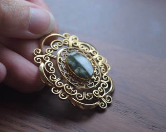 Vintage Costume Jewelry Gold Filled Filigree and Moss Green Jade Cabochon Pendant