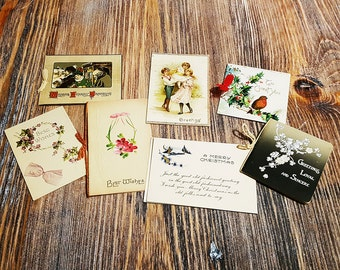 Collection of 7 Unused Antique Christmas Cards, circa 1900