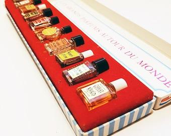 Vintage 'Femmes Et Parfums Autour Du Monde'- Perfumes Around The World, Ten Miniature Bottles