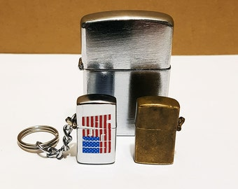Pair of Vintage Mini Keychain Lighters, Working Condition