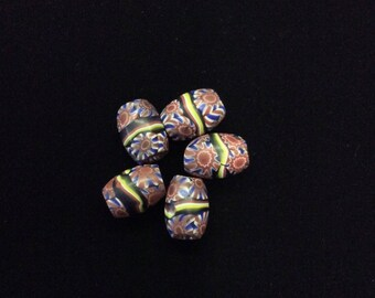 Set of 5 Banded Oval Millefiori Trade Beads