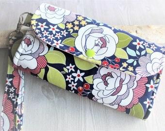 Floral Blue Womens clutch wristlet wallet, Handmade wallet, Accordion wallet, card wallet, checkbook wallet, iphone wallet