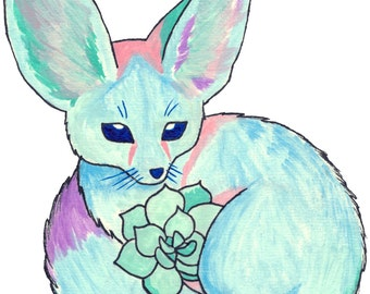Fennec fox with Succulents