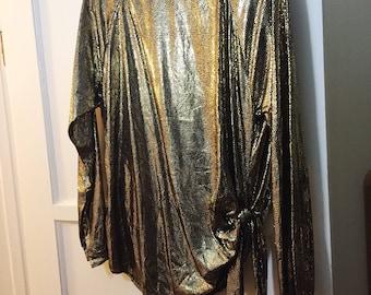 Amazing 1980s gold lamè tie waist blouse