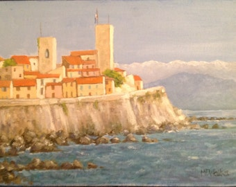 "Original Artwork, Oil painting on canvas board Title- ""Antibes, Côte d'Azure"""