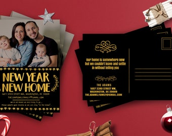 Gold Foil Home Sweet Home New Year Moving Cards Template