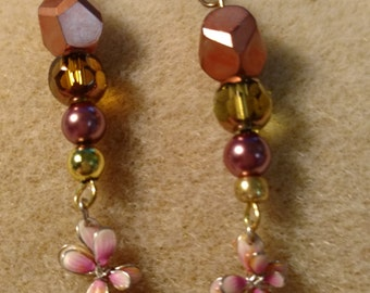 Dangling Beaded Flower Earrings, Holiday gift idea, Gift for her,Teens girls,Christmas,Hanukkah,Accessories,Women's,Costume Jewelry