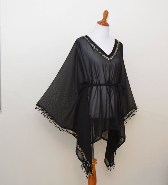Black sheer kimono classic black robe black cardigan fringe