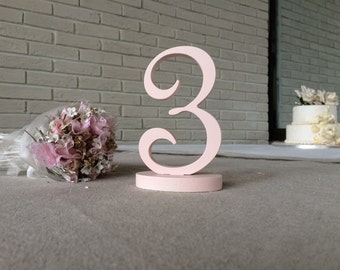PAINTED Summer wedding table numbers Pale Pink , table number, wooden number number wood