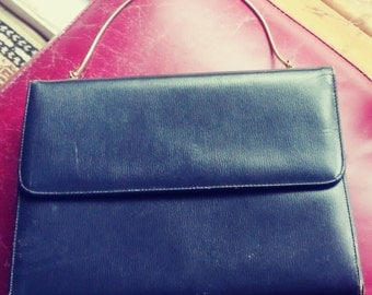 Moving Sale! Canadian Vintage 60's Navy Blue Leather Top Handle Bag, Mad Men Style Bag