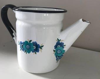 Vintage floral enamelware coffee pot