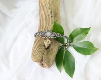 macramé bracelet with rose quartz micro macrame