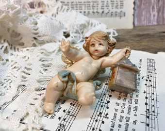 Vintage Fontanini Cherub Ornament/Made in Italy/Angel/Lantern/#196