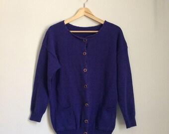 Long knit cardigan, 70s, pockets, button down, M-L, *vintage*
