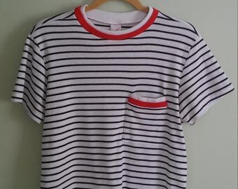 Vintage 90s black, white and red striped t-shirt