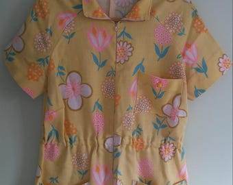 50s or 60s vintage handmade yellow floral tunic