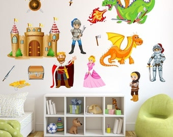 009 wall decals Knight with Dragon Castle King * nikima * in 6 verse. Sizes
