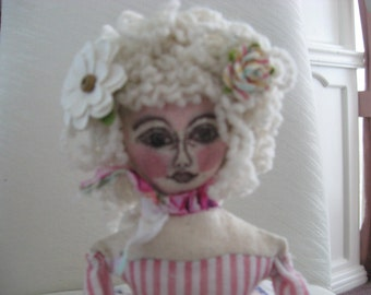 Cloth Art Doll, Sitter Doll, One-of-a-Kind, Shabby Chic, Handmade Sewn Doll
