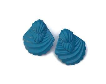 Vintage modern blue statement earrings