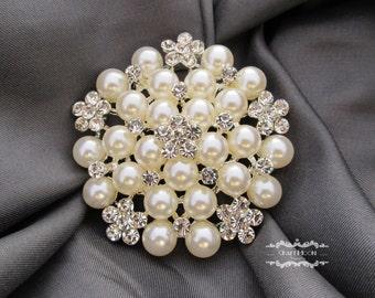 1-5 Rhinestone Pearl Brooch Silver Pin Large Brooch Button Crystal Wedding Brooch Bouquet Embellishment Bridal Cake Shoe Invitation BR520