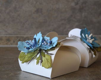Blue flower box baby shower favor box wedding box baptism gift first communion christening baptism decoration candy box party box jewelry