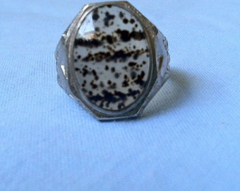 Vintage 1950's Mens Uncas Sterling Silver Montana Moss Agate Ring (Never Worn)