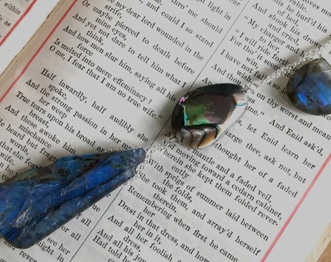 Beautiful Labradorite Pendant, Large Labradorite Tear Drop, AAA Natural Abalone Bead, Sterling Silver Necklace - Chakra and Energy Healing