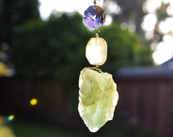 Raw Natural Aquamarine Crystal w/ Citrine and Rare Swarovski Crystal Bead Necklace on 14 karat gold chain - Chakra and Energy Healing
