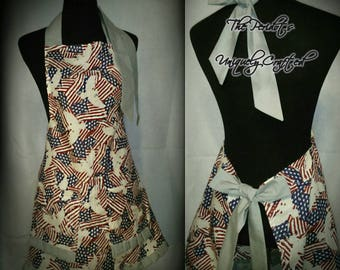 All American flags + eagles or Fireworks family apron