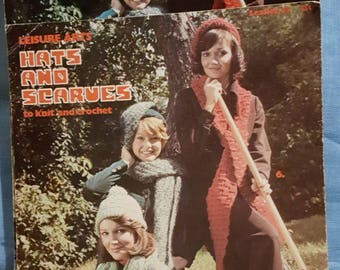 1974 Leisure Arts Leaflet 45 Hats and Scarves to Knit and Crochet Pattern Leaflets 2 I  stock!