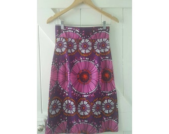Psychedelic 1970s High Waisted Skirt, groovy retro, Scandinavian print, floral print, pink and purple