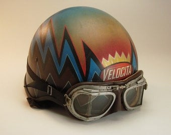 Vintage, Custom Motorcycle Helmet and Goggles