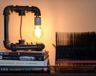 Pipe Lamp - Red & White Cord - Desk Lamp - Table Lamp - Industrial Lamp - Edison Lamp