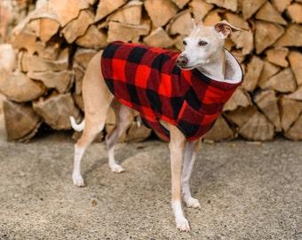 Italian Greyhound Red Black Lumberjack Check Fleece Dog Sweater. Dog Clothing. Italian Greyhound Clothing. Coat. Dog Apparel