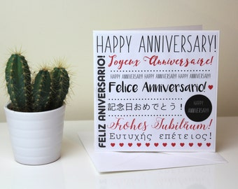 Anniversary Card // multi-language card // unique card // black & red