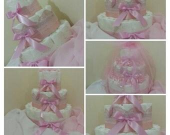 Pink Ribbon & Lace Nappy Cake